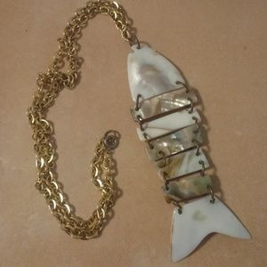Vintage Mother Of Pearl Large Fish Necklace